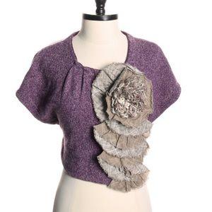 Moth Purple Sweater w/Brown Plaid Details